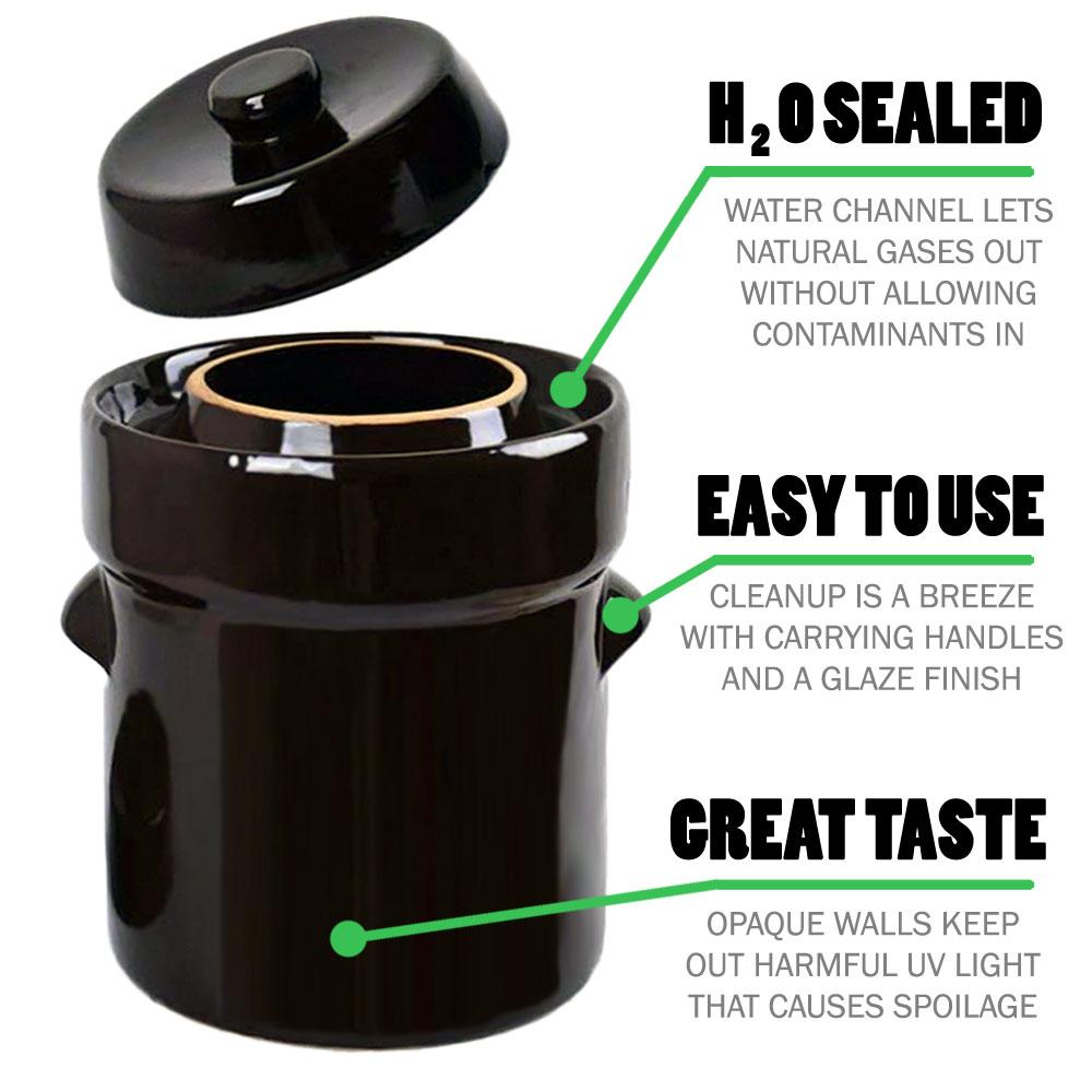Sauerkrock Water Seal Fermentation Crock Jar Lid Weights
